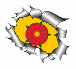 Ripped Torn Metal Design With Lancashire Rose County Flag Motif External Vinyl Car Sticker 105x130mm